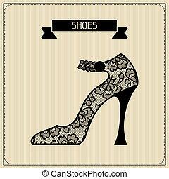 vendimia, shoes., encaje, plano de fondo, ornament., floral
