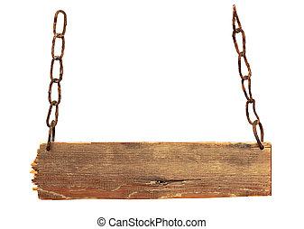 vendimia, signboard, con, cadenas, aislado, en, un, fondo blanco