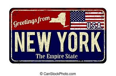 vendimia, signo metal, oxidado, saludos, nueva york