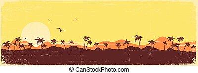 vendimia, silueta, palmas, isla, textura, tropical, papel, plano de fondo, paraíso, viejo