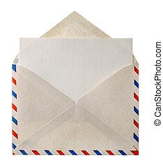 vendimia, sobre, aislado, Aire, carta, correo, blanco