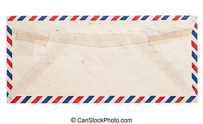 vendimia, sobre, aislado, Aire,  Grungy, correo, blanco