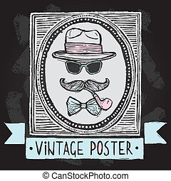 vendimia, sombreros, y, anteojos, cartel