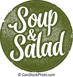 vendimia, sopa, café, ensalada, señal