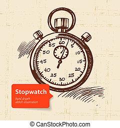 vendimia, stopwatch., dibujado, ilustración, mano