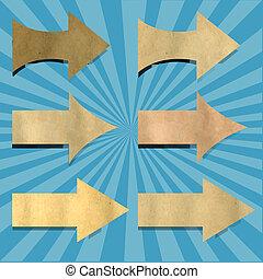 vendimia, sunburst, papel, con, flechas, conjunto