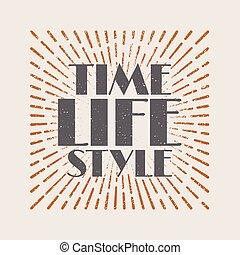 vendimia, sunburst, starburst, resumen, retro, etiqueta, tiempo, vida, style.