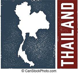 vendimia, tailandia, señal, mapa