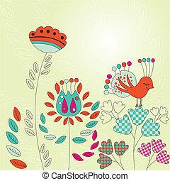 vendimia, tarjeta, con, aves, y, flores
