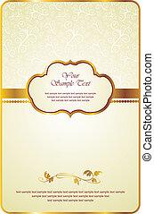 vendimia, tarjeta, con, oro, emblema