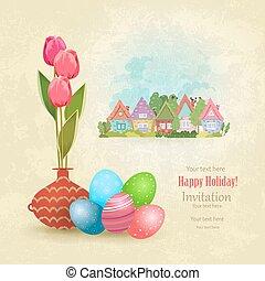 vendimia, tarjeta de felicitación, con, florero, de, tulipanes, y, colorido, huevos, en, un