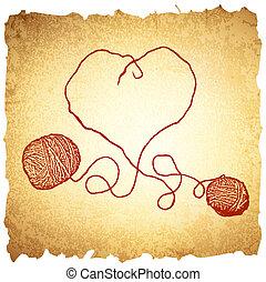vendimia, tejido de punto, corazón