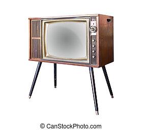 vendimia, televisión, aislado, ruta de recorte