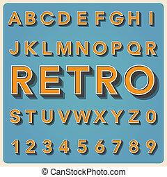 vendimia, tipo, fuente, tipografía, retro