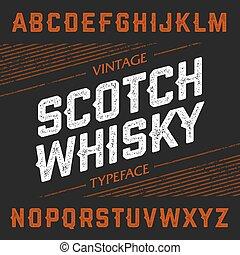 vendimia, tipografía, whisky escocés