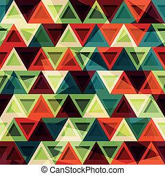 vendimia, triángulo, seamless, patrón