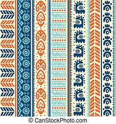 vendimia, tribal, étnico, seamless, patrón
