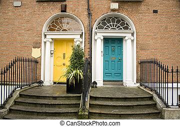vendimia, turquesa, dublín, puertas, amarillo