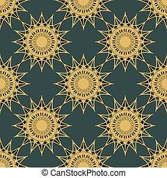 vendimia, turquesa, seamless, oro, patrón