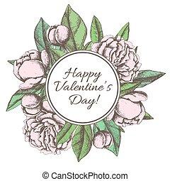 vendimia, valentines, mano, dibujado, peón, botánico, día, ...