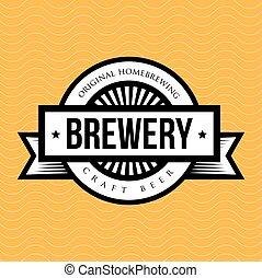 vendimia, vector, cervecería, logotipo