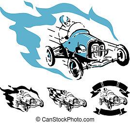 vendimia, vector, coche de carreras