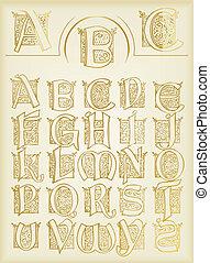 vendimia, vector, conjunto, alfabeto