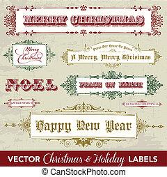 vendimia, vector, conjunto, navidad, etiqueta