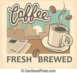vendimia, vector, ilustración, de, taza para café, y, instrumentos de crédito de noticias, en, mesa., retro, cartel, template., vector, viejo, papel, textura, alimento y bebida, plano de fondo, concept.
