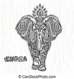 vendimia, vector, indio, ilustración, elefante