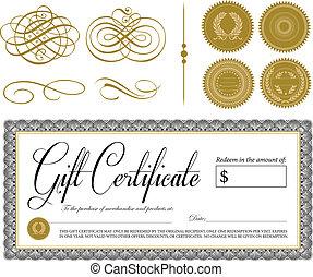 vendimia, vector, ornamentos, certificado, florido