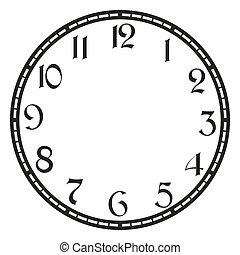 vendimia, vector, reloj
