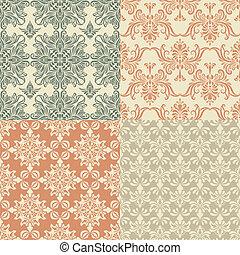 vendimia, vector, seamless, papel pintado, patrones