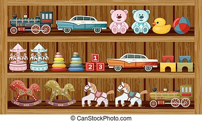 vendimia, vector, shelf., juguetes