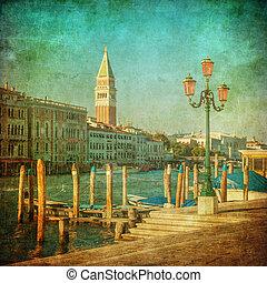 vendimia, venecia, canal, imagen, magnífico