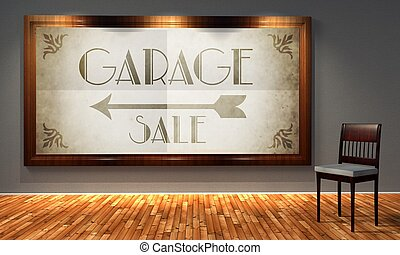 vendimia, venta garaje, en, pasado de moda, marco