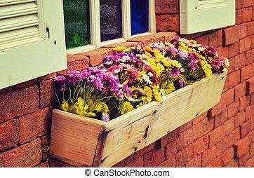 vendimia, ventana, con, flores