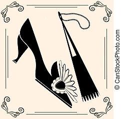 vendimia, ventilador, zapato