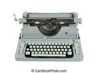 vendimia, verde, 1960's, máquina de escribir, aislado