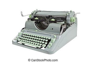 vendimia, verde, 1960's, máquina de escribir, con, ruta de recorte