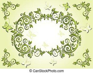 vendimia, verde, marco
