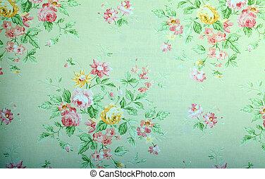 vendimia, verde, papel pintado, con, patrón floral