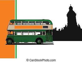 vendimia, verde, ve, autobús, illustration.