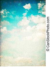 vendimia, vertical, cielo, plano de fondo, aislado, en, white.