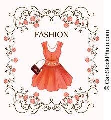 vendimia, vestido, rojo, etiqueta