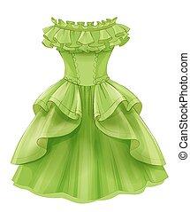 vendimia, vestido, verde, amarillo
