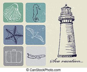 vendimia, viaje, conjunto, mar, iconos