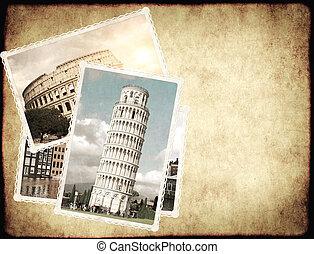 vendimia, viaje, fotos, retro, plano de fondo, señales, europeo