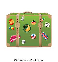 vendimia, viaje, maleta