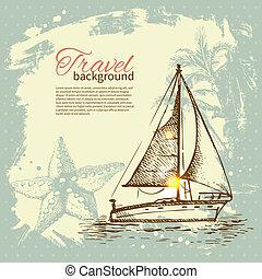 vendimia, viaje, mano, tropical, salpicadura, retro, plano...
